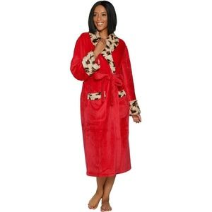 NEW Dennis Basso Leopard Faux Fur Robe Medium Red